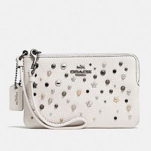 Coach Corner Zip Wristlet with Star Rivets/Studs